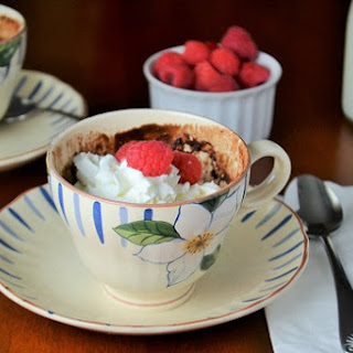 Chocolate Raspberry Mug Cake.