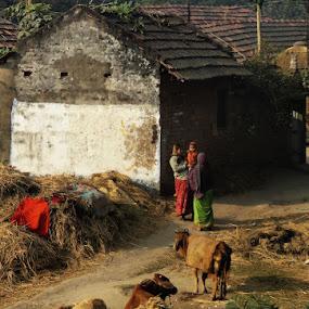 A village scene.. by Ruhi Chanda - City,  Street & Park  Neighborhoods ( india, villages, landscapes, portraits, women )