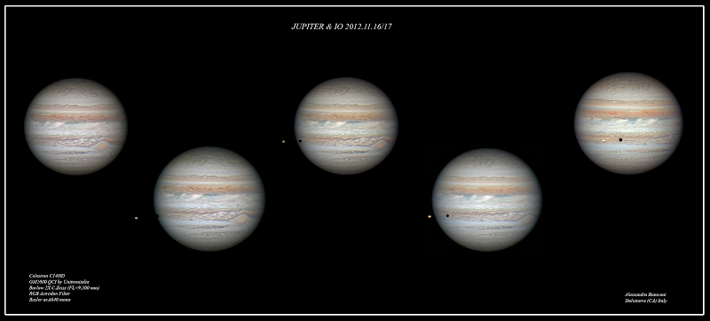 Photo: Jupiter and Io Image Credit & Copyright: Alessandro Bianconi http://apod.nasa.gov/apod/ap121128.html  On December 3 (UT), Jupiter, the solar system's largest planet, will be at opposition, opposite the Sun in planet Earth's sky, shining brightly and rising as the Sun sets. That configuration results in Jupiter's almost annual closest approach to planet Earth. So, near opposition the gas giant offers earthbound telescopes stunning views of its stormy, banded atmosphere and large Galilean moons. For example, this sharp series was recorded on the night of November 16/17 from the island of Sardinia near Dolianova, Italy. North is up in the images that show off Jupiter's famous Great Red Spot, and planet girdling dark belts and light zones. Also seen in transit is Jupiter's volcanic moon Io, its round, dark shadow tracking across the Jovian cloud tops as the sequence progresses left to right.