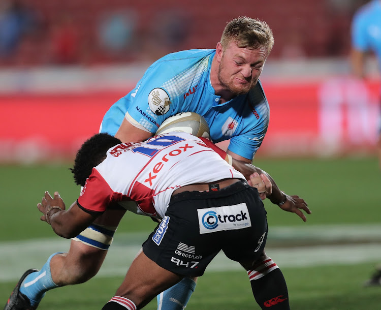 The Blue Bulls loose forward Jano Venter power through a tackle during the Currie Cup match against the Golden Lions at Emirates Airline Park in Johannesburg.