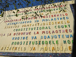 Photo: the entrance to the Constitutional Court of South Africa in all the recognized languages of the country
