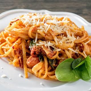 Vegetarian Sundried Tomato Fettuccine.