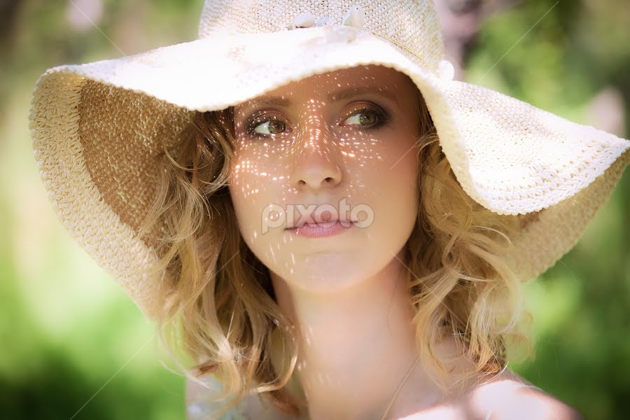 Portrait of a young lady with hat by Cornel Achirei - People Portraits of Women ( sunny, woman, lady, summer, young, portrait, hat )