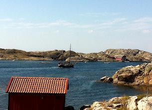 Photo: Ship sails past.