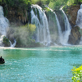 Bosnia by Mane Manich - Landscapes Waterscapes ( boat people waterfalls green water splash trees beauty nature south europe )