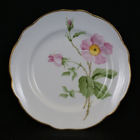 handmålade blomstermotiv Assiett 15 cm nyponros