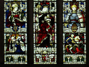 Photo: Detail 1 - Stained glass window West front Hereford Cathedral - 1902