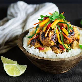 Chicken Meatballs, Satay Sauce & Mango Salad Over Coconut Rice.