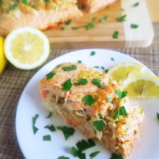 Crab Stuffed Salmon with Lemon Butter (Paleo, Low Carb).