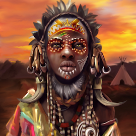 Aisha in africa by Navid Yazdani - Illustration People ( africa, african, digital painting, digital art )