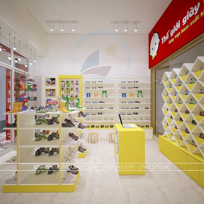 thiết kế shop giày dép trẻ em thông minh