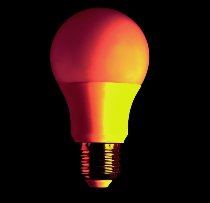 LED bulb on black background