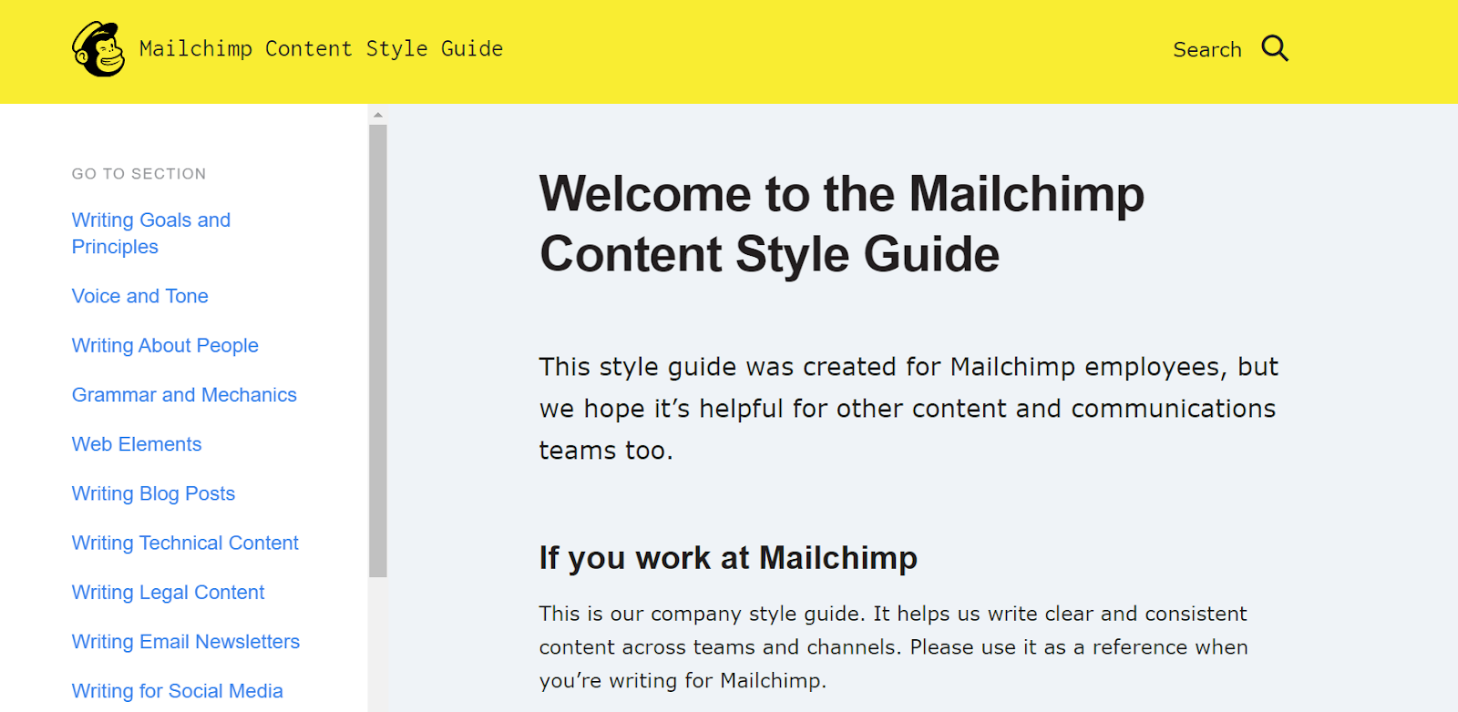 A screenshot of Mailchimp's content style guide.