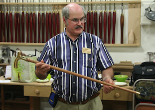 Photo: Steve Drake described the difficulties involved in turning a cane and keeping it straight.