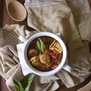 Italian Sausage Soup with Tortellini.