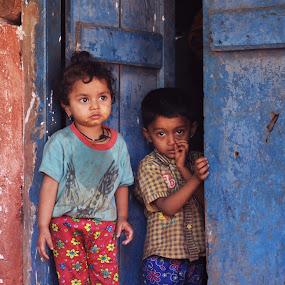 Innocence by Sudheer Hegde - Babies & Children Children Candids ( red, blue, kids )