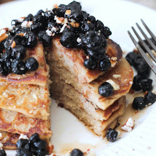 Vegan Lemon-Banana Ricotta Pancakes w/ Dried Blueberry Compote