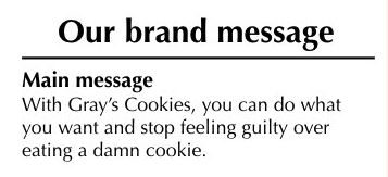 Gray's Cookies brand message