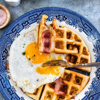 Savoury Eggs, Cheddar And Bacon Breakfast Waffles.