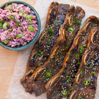 Grilled Korean Short Ribs with A Crunchy Asian Slaw.