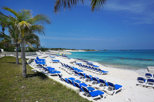 The beach at Great Stirrup Cay, the private island in the Bahamas operated by Norwegian Cruise Line.