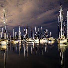 Peaceful Reflections by John Witt - Transportation Boats ( sailboats, nightshot, reflections, yacht club, sailing masts )