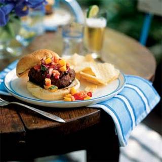 Jamaican Jerk Turkey Burgers with Papaya-Mango Salsa Recipe
