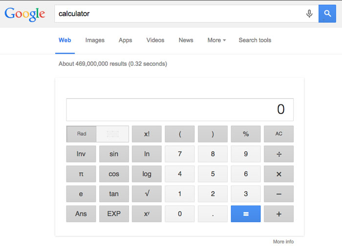 google tips and tricks - calculator