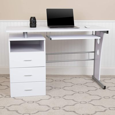 Flash Furniture White Desk with keyboard tray