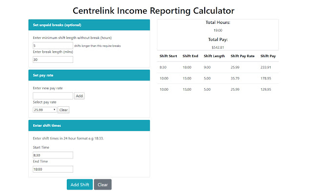 Centrelink Income Reporting Calculator