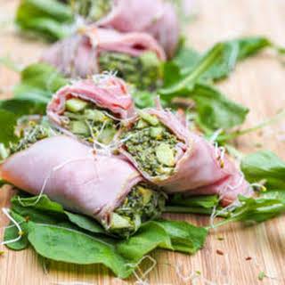 Smoked Ham Roll Ups with Avocado Pesto {Gluten-Free, Dairy-Free}.