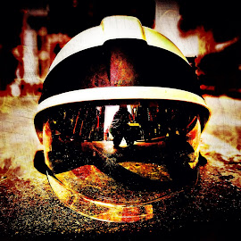 Firefighter helmet by Robert Seme - Abstract Fire & Fireworks ( photooftheday, firefighter, helmet, fire, photo, action, firefighters, photography,  )
