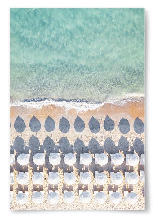 Poster Strand med Parasoller No1