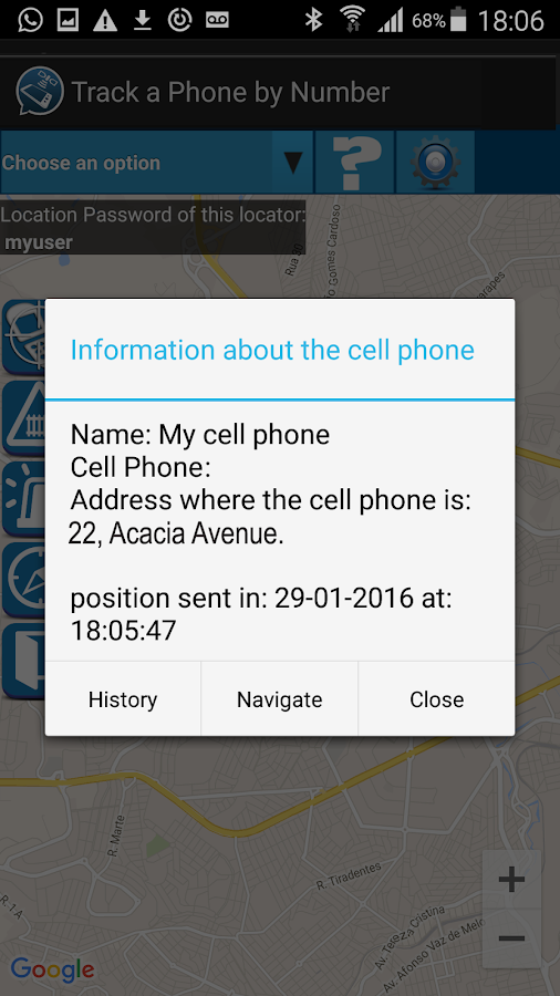 Track A Phone By Number Screenshot