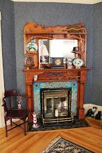 Photo: Fireplace details in the living room of Lunenburg Inn.