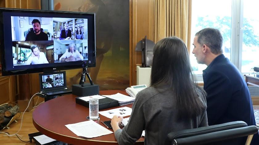 Videoconferencia desde el Palacio de La Zarzuela.