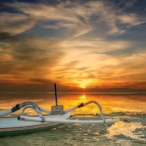 .:: lonely boat 3 ::. by Setyawan B. Prasodjo - Landscapes Sunsets & Sunrises ( bali, reflection, red sky, bule sky, waterscape, golden sky, sanur, beach, seascape, landscape, boat, dusk, early morning, sunset, sunrise, catamaran )
