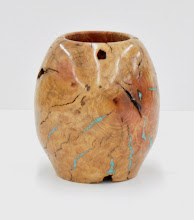 "Photo: Denis Zegar - Vase - 4"" x 6"" -Manzanita Burl, Turqouise Inlay [10.01]"