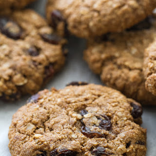 Soft & Chewy Flourless Oatmeal Raisin Cookies.