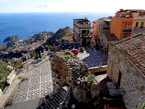 Photo: Looking down from Castelmole Castello on to village main square and beyond