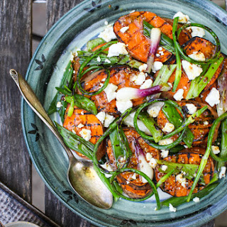 Grilled Green Onion & Sweet Potato Salad with Warm Chèvre