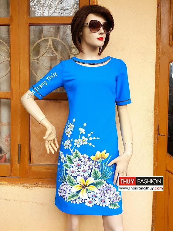 Váy vẽ tay họa tiết hoa dáng váy suông V371 thời trang thủy