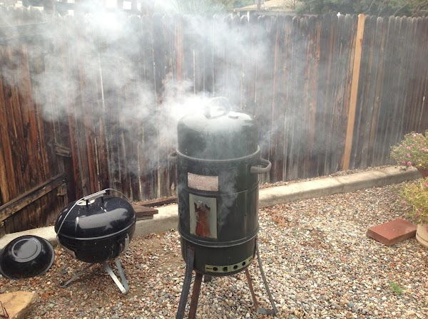 I check on the smoker to make sure the temp stays at 200 degrees....