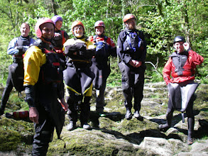 Photo: Advanced group day 2 photo for insurance purposes prior to Henllan Falls