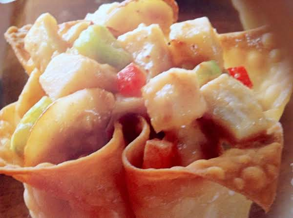 Asian Style  Chicken Wonton Cups Recipe