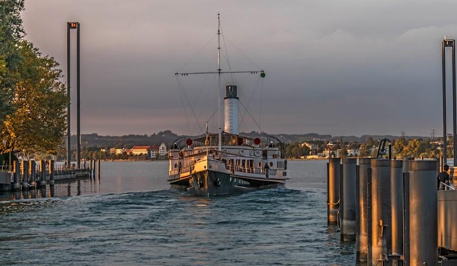 Old steamship on Lake Constance Austria by Linda Brueckmann - Transportation Boats