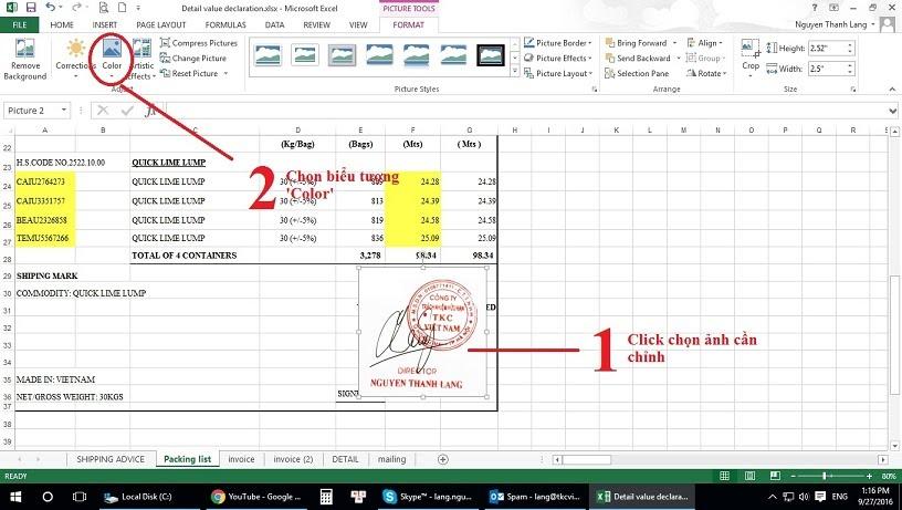 Chen hinh anh sau chu trong Excel