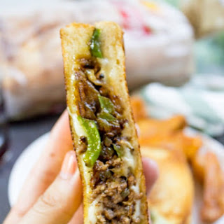 Ground Philly Cheesesteak Grilled Cheese.