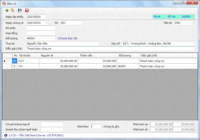 Báo có phần mềm kế toán 3tsoft