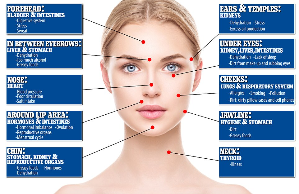 Facial Blemish Map Reveals These Internal Health Problems